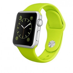 Apple Watch Sport 38mm | Carcasa aluminiu | Curea silicon verde - Smartwatch Apple, Argintiu