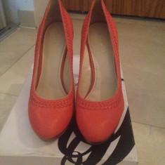 Pantofi dama Nine West - Pantof dama Nine West, Culoare: Corai, Marime: 39, Piele naturala, Cu toc