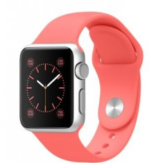 Apple Watch Sport 38mm | Carcasa aluminiu | Curea silicon roz - Smartwatch Apple, Argintiu