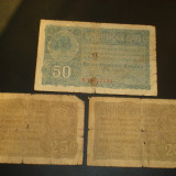 Lot 3 bancnote BGR - 25 si 50 bani - Bancnota romaneasca, An: 1917