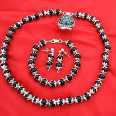 Set argint / onix - cercei, bratara, colier + Cadou clama de par - Set bijuterii argint