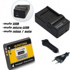 PATONA | Incarcator 4in1 USB + Acumulator pt Olympus Li 90B Li90b | 950mAh - Incarcator Aparat Foto