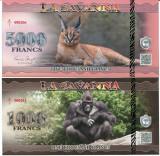!!! LA  SAVANNA -  SET  1000 + 5000 FRANCI  2015 - UNC