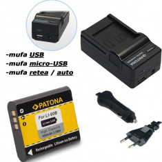 PATONA | Incarcator 4in1 USB + Acumulator pt Olympus Li 90B Li90b Tough TG1 TG 1 - Incarcator Aparat Foto