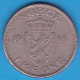 (M83) MONEDA NORVEGIA - 1 KRONE 1955, Europa