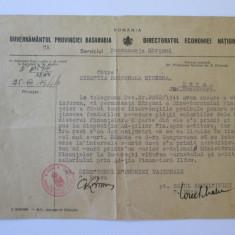 DOCUMENT CU ANTET SI STAMPILA GUVERNAMANTUL PROVINCIEI BASARABIA 1944, Europa, Documente
