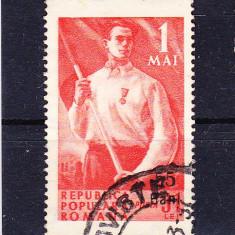 Timbre ROMANIA 1952 = 1 MAI 1950 CU SUPRATIPAR, Stampilat