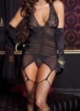 Lenjerie portjartier sexy neagra cu dantela+ ciorapi plasa, Negru, M/L