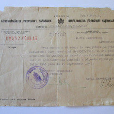 DOCUMENT CU ANTET SI STAMPILA GUVERNAMANTUL PROVINCIEI BASARABIA 1943 - Pasaport/Document, Europa