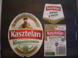 ETICHETA STICLA BERE  KASZTELAN - POLONIA - FATA, VERSO , GAT - FOLOSITA .