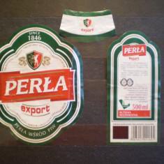 ETICHETA STICLA BERE  PERLA - POLONIA - FOLOSITA .