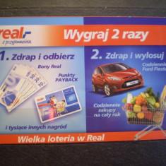 BILET LOTERIE - WYGRAJ 2 RAZY - REAL - POLONIA - FOLOSIT .