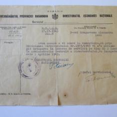 DOCUMENT CU ANTET SI STAMPILA GUVERNAMANTUL PROVINCIEI BASARABIA 1943, Europa, Documente
