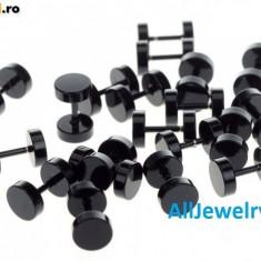 Cercei baieti barbati BARBELL - 6 mm METALIC NEGRU - Calitate Premium - Cercei inox