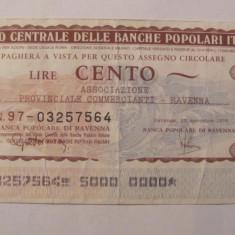 CY - 100 lire 1976 Italia Banca di Ravenna - Cambie si Cec