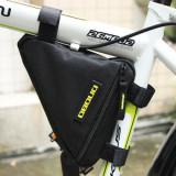 Geanta cadru bicicleta spatiu depozitare negru cu logo galben