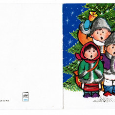 Carte Postala / felicitare de Craciun / An nou, anii '80, colindatori - Carte Postala Maramures dupa 1918, Necirculata, Printata