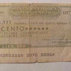 CY - 100 lire 1976 Italia Banca del Veneto - Cambie si Cec