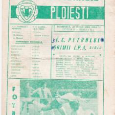 Program meci fotbal PETROLUL PLOIESTI - SOIMII IPA SIBIU 20.06.1982