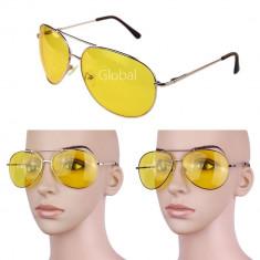 Ochelari de condus polarizati unisex model Aviator lentila galbena si pt soare, Protectie UV 100%, Metal