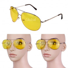 Ochelari de condus si soare unisex model Aviator lentila galbena transparenta, Pilot, Metal, Protectie UV 100%, Polarizate
