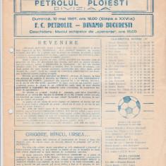 Program meci fotbal PETROLUL PLOIESTI - DINAMO BUCURESTI 10.05.1987
