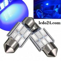 Bec LED 31mm C5W 6x 5630 5730 Albastru auto plafoniera numar parasolar - Led auto EuropeAsia, Universal