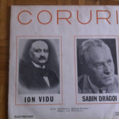 Ion Vidu Sabin Dragoi Coruri disc vinyl lp muzica clasica cor corala exe 0925, VINIL, electrecord