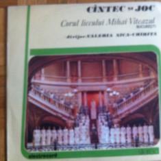 Corul liceului Mihai Viteazul cantec si joc Valeria Nica Chirita disc vinyl lp, VINIL, electrecord