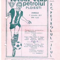 Program meci fotbal PETROLUL PLOIESTI - JIUL PETROSANI 02.10.1977