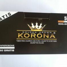 Tuburi tigari KORONA - 550 buc. la cutie pentru injectat tutun - Foite tigari