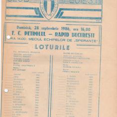 Program meci fotbal PETROLUL PLOIESTI - RAPID BUCURESTI 28.09.1986