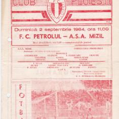 Program meci fotbal PETROLUL PLOIESTI - ASA MIZIL 02.09.1984