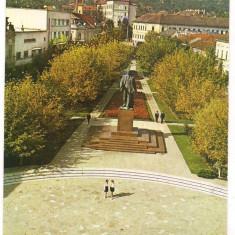 % carte postala (marca fixa)-DEVA-Statuia Dr. Petru Groza - Carte postala tematica, Circulata, Printata