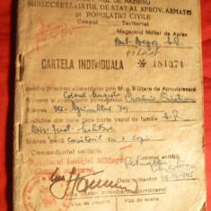 Cartela individuala anuala pt. Magazin Militar 1945