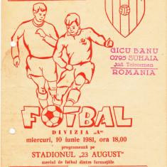 Program meci fotbal POLITEHNICA IASI - CHIMIA RM.VILCEA 10.06.1981