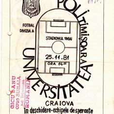 Program meci fotbal POLITEHNICA TIMISOARA-UNIVERSITATEA CRAIOVA 25.11.1981