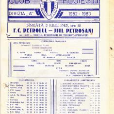 Program meci fotbal PETROLUL PLOIESTI - JIUL PETROSANI 02.07.1983