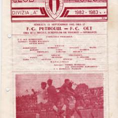 Program meci fotbal PETROLUL PLOIESTI - FC OLT 11.09.1982