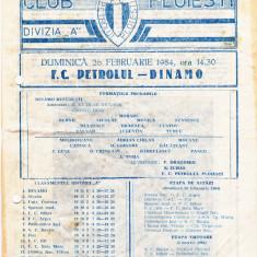 Program meci fotbal PETROLUL PLOIESTI - DINAMO BUCURESTI 26.02.1984