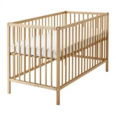 Pătuţ IKEA SNIGLAR cu saltea IKEA Vyssa Slappna + 4 cearsafuri cadou - Patut lemn pentru bebelusi, 120x60cm, Altele