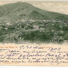 2053 - PIATRA NEAMT - Vedere generala - old postcard - used -1903 - Carte Postala Moldova pana la 1904, Circulata, Printata