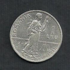 ROMANIA 1 LEU 1911 ARGINT [3] livrare in cartonas - Moneda Romania