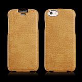 Husa piele iCARER iPHONE 6, 6S flip cover clapeta, inchidere magnet, BROWN GOLD - Husa Telefon Apple, Auriu, Cu clapeta