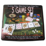 Set Jocuri 5in1 Poker Ruleta Black Jack Craps Poker Dice - Joc board game