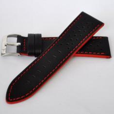 Curea din piele pentru ceas cod 426-Black/Red - 55 lei (latimi 22 si 24mm) - Curea ceas piele