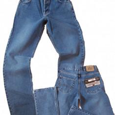 Blugi barbati drepti clasici albastri prespalati MOTTO jeans W 30 (Art.024)