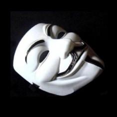 Masca Anonymous, Guy Fawkes, Masca V for Vendetta Alba, Rezistenta - Masca carnaval, Marime: Marime universala, Culoare: Din imagine