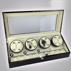 Watch Winder 8 + 12 spatii cutie intors ceasuri automatice cutie ceasuri