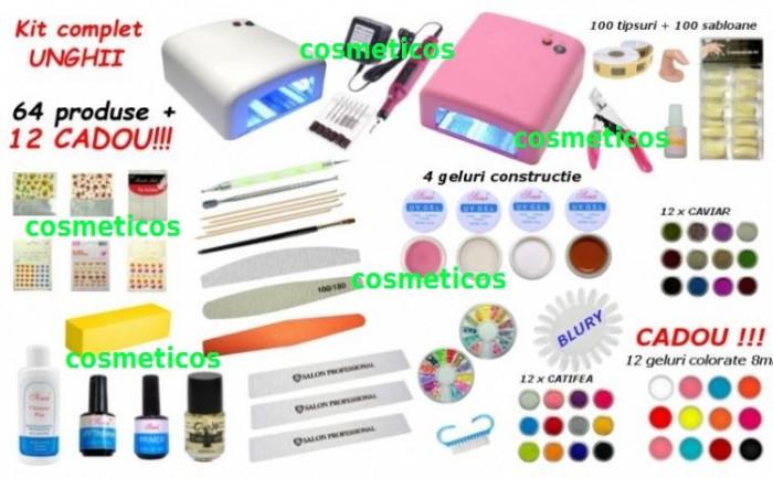Kit unghii false - lampa UV,freza, 12 GELURI COLORATE GRATIS  - KIT 64 produse